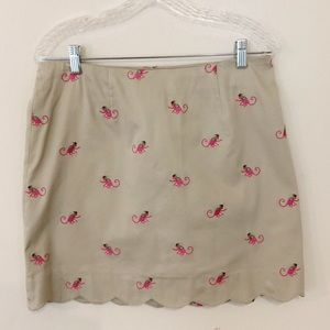 Lily Pulitzer Khaki Scalloped Skirt with Monkeys